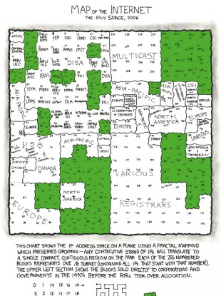 Popular comic XKCD designed a 'map of the internet' in 2006 - but the green empty spaces, five years on, are now almost totally full.