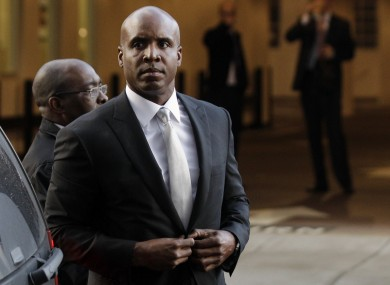 Barry Bonds arrives at court in San Francisco..