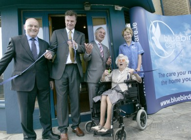 From left: Willie Byrne and David Bruton of Bluebird Care, Minister Bruton, Bluebird client Vivienne Fagan, and Vivienne's carer Eszter Kenez.