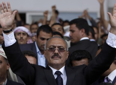 Saleh pictured in April prior to an attack on his compound in June in which he was injured.