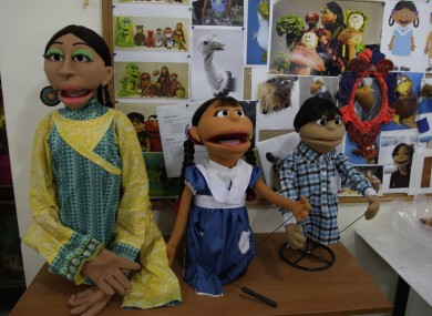 Characters of Pakistani Sesame Street are displayed in Lahore, Pakistan.