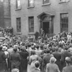 Meanwhile, Eamon de Valera leaves the Presbytery at the Pro-Cathedral, Marlborough Street after a special Mass from Catholic Archbishop of Dublin Dr Byrne.