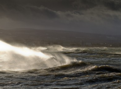 Waves off Poolbeg in Dublin earlier today