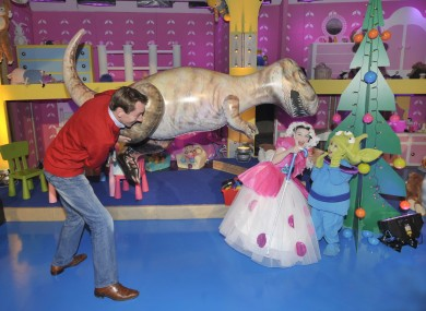 RTE presenter Ryan Tubridy with Dylan O'Connor (as alien), 4, Artane and Amy O'Gorman, 9, from Glasnevin