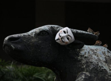 File photo of the Guy Fawkes mask associated with Anonymous.