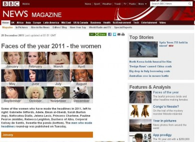 The BBC Magazine's list includes 11 women and, er, one panda