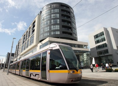 The Luas tram on the Red Line.