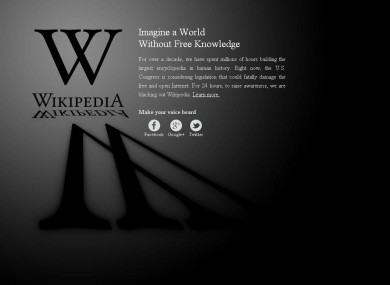 Wikipedia's blackout page appears when users access the si