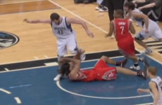 WATCH: NBA player gets a kick to the face