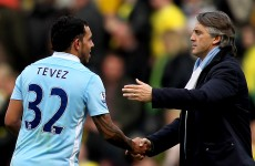 Friends reunited: Mancini hints that prodigal son Tevez may stay with City