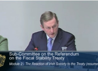 Kenny at the Oireachtas sub-committee meeting this morning.