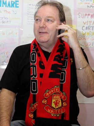 Jim Power on the phone with Manchester United boss Sir Alex Ferguson on day 154 of the protest