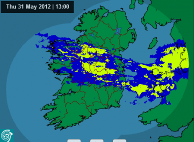 Met Éireann's rainfall radar at 1pm showed quite a bit of wet weather -