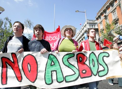 Protests against the introduction of ASBOs in Ireland by Labour Youth in 2005.