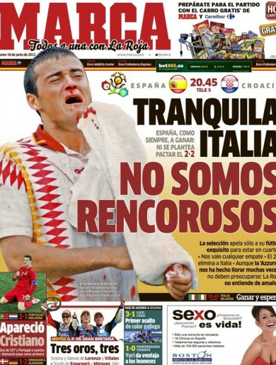 This is Marca's front page today – 'Don't worry Italy, we're not resentful'
