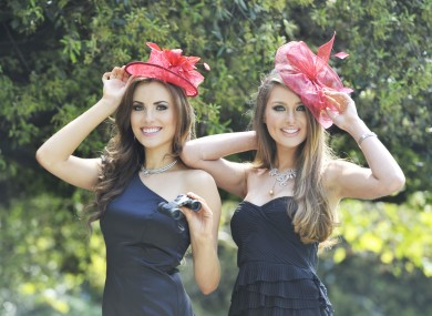 Models models Holly Carpenter(left) and Roz Purcell, wearing designs provided by fashion sponsors Boodles and Debenhams to launch the Dubai Duty Free Irish Derby last month
