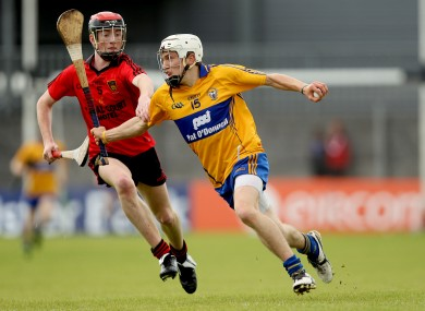 Down's Ryan Brannigan and Shane O'Donnell of Clare.