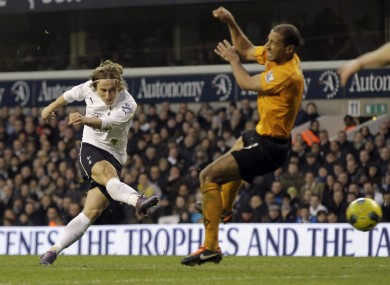 Modric scoring against Wolves in January.