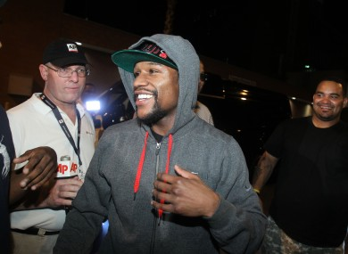 Floyd Mayweather is greeted as he leaves Clark County jail.