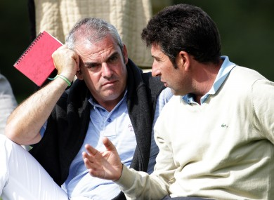 Jose Maria Olazabal of Spain, right, captain of the European Ryder Cup in 2012 and McGinley.