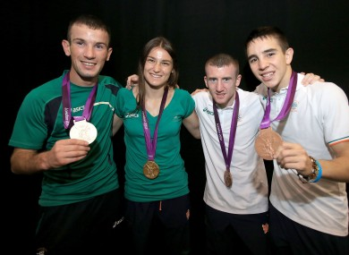 Nevin (left) with Taylor, Barnes and Conlan.