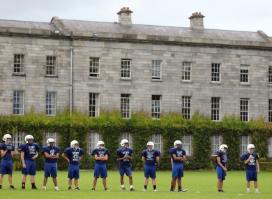 Kent High School American football team during training at Trinity College Dublin