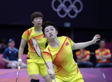 Yu Yang in the foreground in her last competitive badminton game on Tuesday evening in London.
