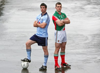 Dublin's Michael Darragh MacAuley and Mayo's Seamus O'Shea will be in opposition next Sunday.