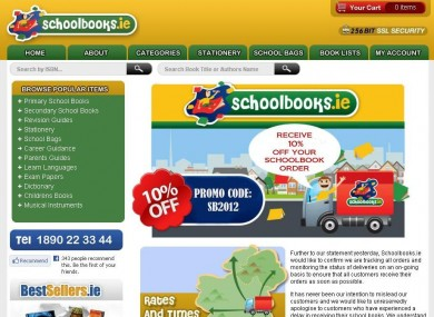 The Schoolbooks.ie homepage