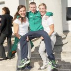 Carry me: Boxing bronze medalist Paddy Barnes gets a lift from sailor Annalise Murphy (left) and pentathlete Natalya Coyle. Sonia O'Sullivan in the background. Photo: Laura Hutton/Photocall Ireland
