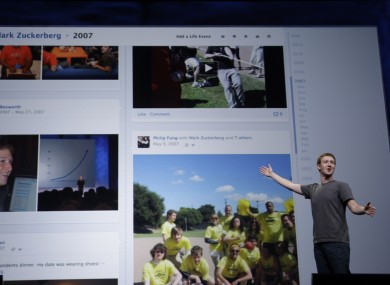 Mark Zuckerberg shows off the Facebook Timeline in September 2011. Users have again raised fears that the Timeline allows 'private' messages to be seen by any other user.