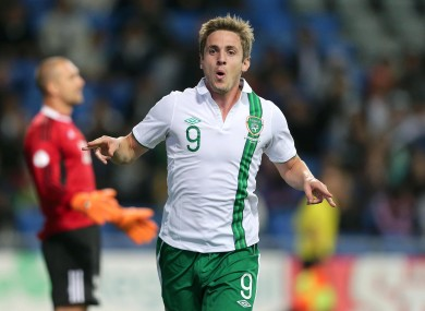 Doyle celebrates scoring the winner against Kazakhstan.