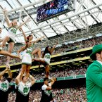 Fighting Irish cheerleaders... and a leprechaun. ©INPHO/James Crombie