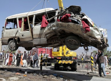 File picture of bombed bus in Afghanistan.