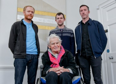Launching the Arts Council 60th anniversary initiative, Into the Light: Mark Clare, Emmet Kierans, Karl Burke and one of Ireland's greatest living artists Patrick Scott who produced the title image, Meditation.