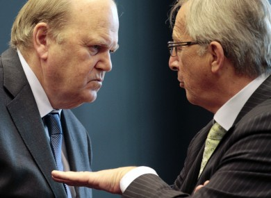 Michael Noonan with Jean-Claude Juncker at the ESM meeting in Luxembourg today
