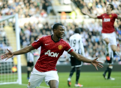 Evra celebrates United's second.