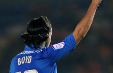 Posh boy: George Boyd scores from centre circle for Peterborough United