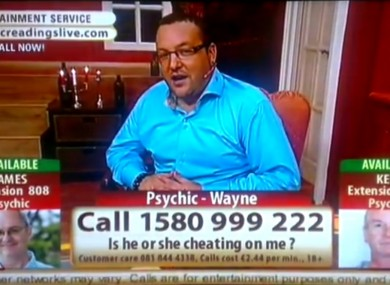 Psychic 'Wayne' from TV3's broadcasts. The BAI has found that the Psychics Live show breached the broadcasting code on two occasions.