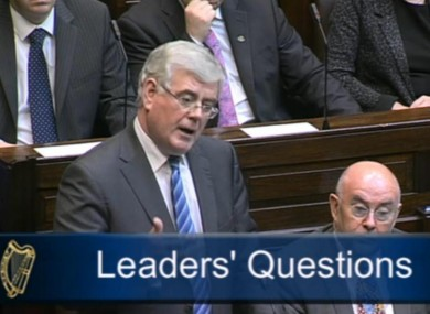 Eamon Gilmore in the Dáil this morning