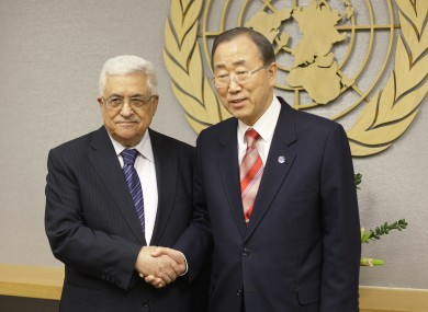 UN Secretary General Ban Ki-moon, right, shakes hands with Palestinian President Mahmoud Abbas at U.N. headquarters Wednesday, Nov. 28, 2012.