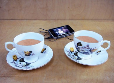 Nicky Hooper's 'Tea and Symphony' is made from portable speakers, tights and china teacups - all of which were bought in a €2 shop.