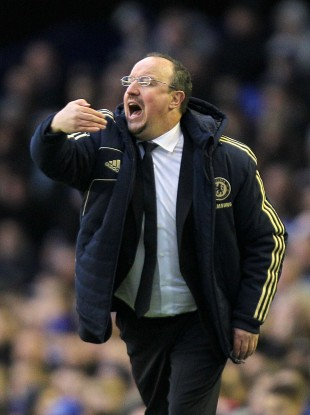 Rafael Benitez, Chelsea's interim manager, gives instructions from the touchline during today's game.
