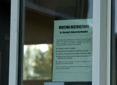 File photo of visitor restrictions at a hospital during an outbreak of the vomiting bug.