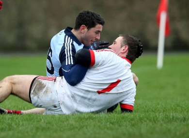 Bernard Brogan of Dublin with Louth goalkeeper Neil Gallagher.
