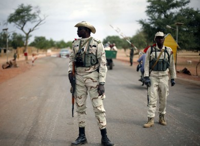 Malian soldiers man a checkpoint outside Sevare on Sunday
