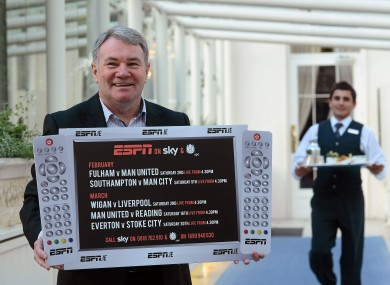 Ray Houghton in Dublin today at the launch of ESPN's upcoming football coverage.