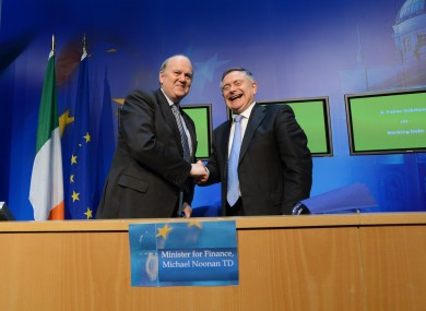 Finance Minister Michael Noonan and Minister for Public Expenditure Brendan Howlin TD yesterday.