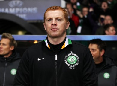 Celtic manager Neil Lennon before kick-off.