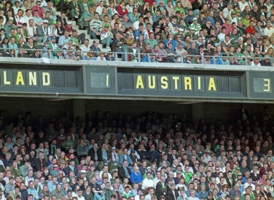 General view of the final score in the Euro 96 qualifier between Ireland and Austria.